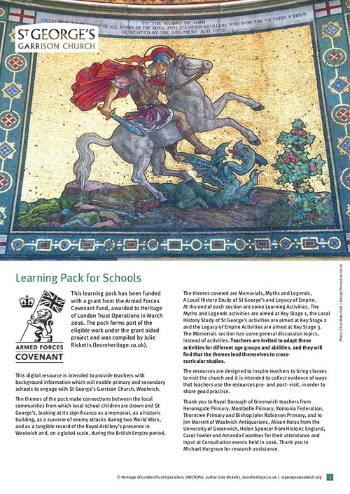 learn heritage learning resource - st georges garrison church woolwich - learning pack for schools
