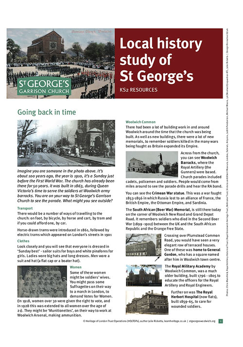 learn heritage - learning resource - st georges garrison church woolwich - local history