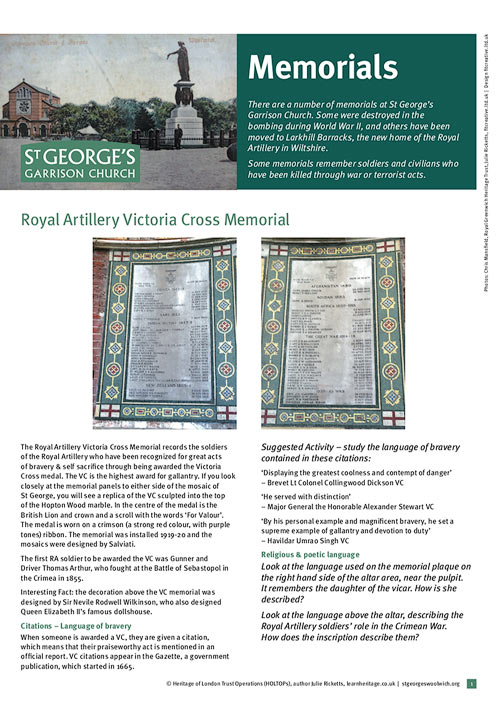 learn heritage - learning resource - st georges garrison church woolwich - memorials