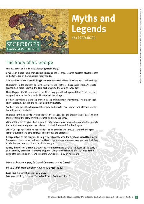 learn heritage - learning resource - st georges garrison church woolwich - myths & legends